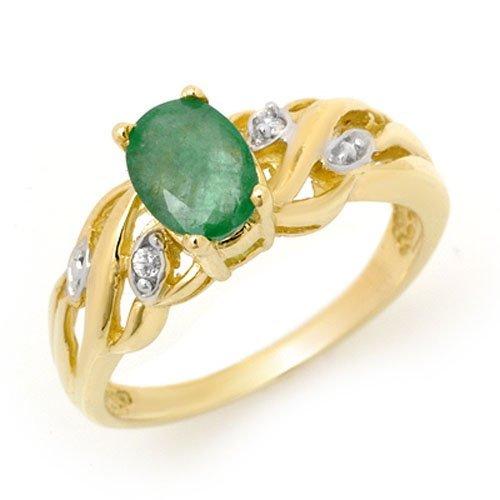 Genuine 0.82 ctw Emerald & Diamond Ring 10K Yellow Gold