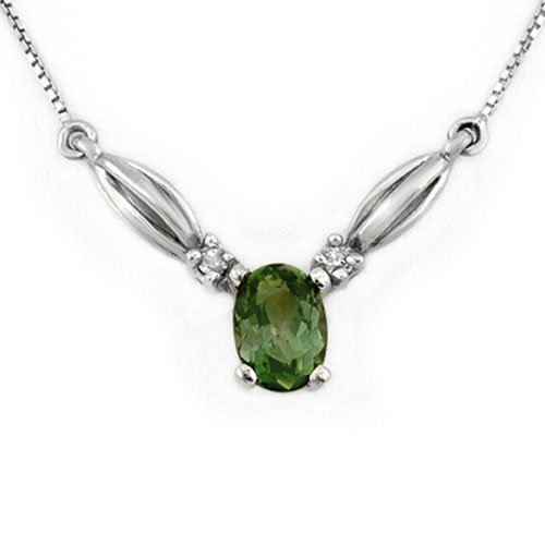 Genuine 1.30ct Green Tourmaline & Diamond Necklace Gold