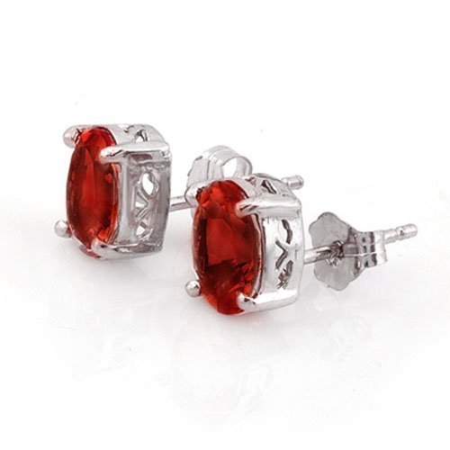 Genuine 2.0 ctw Garnet Stud Earrings 14K White Gold