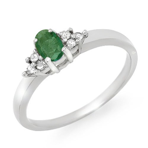 Genuine 0.37 ctw Emerald & Diamond Ring 10K White Gold