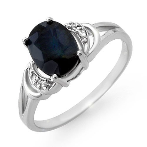 Genuine 2.06 ctw Sapphire & Diamond Ring 10K White Gold