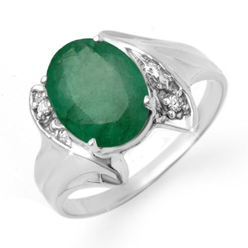 Genuine 2.32 ctw Emerald & Diamond Ring 14K White Gold