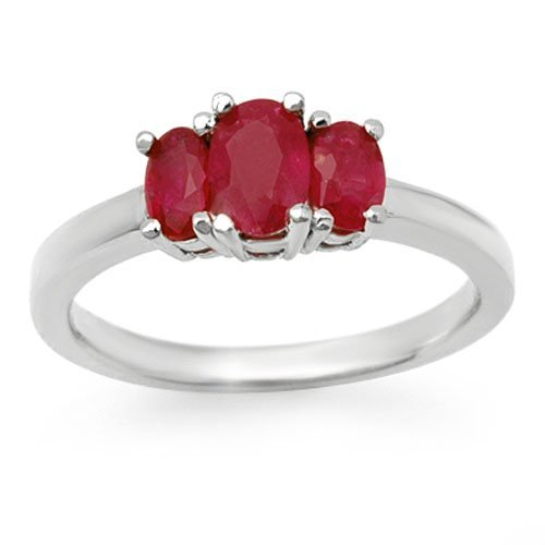 Genuine 1.0 ctw Ruby Ring 10K White Gold
