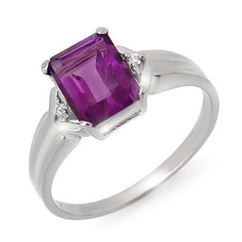 Genuine 1.47 ctw Amethyst & Diamond Ring 10K White Gold