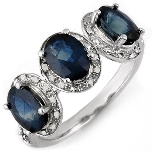 Genuine 3.08 ctw Blue Sapphire & Diamond Ring 10K Gold