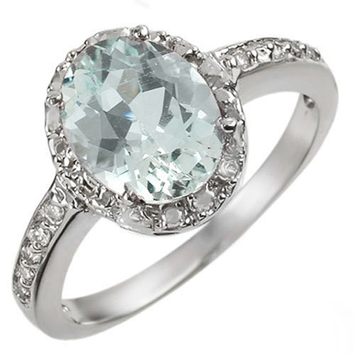 Genuine 2.15 ctw Aquamarine & Diamond Ring 10K Gold