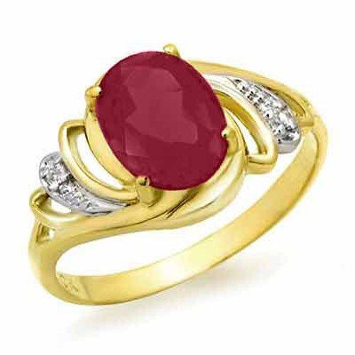 Genuine 2.25 ctw Ruby & Diamond Ring 14K Yellow Gold