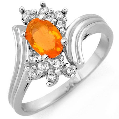 Genuine 0.65ctw Fire Opal & Diamond Ring 10K White Gold