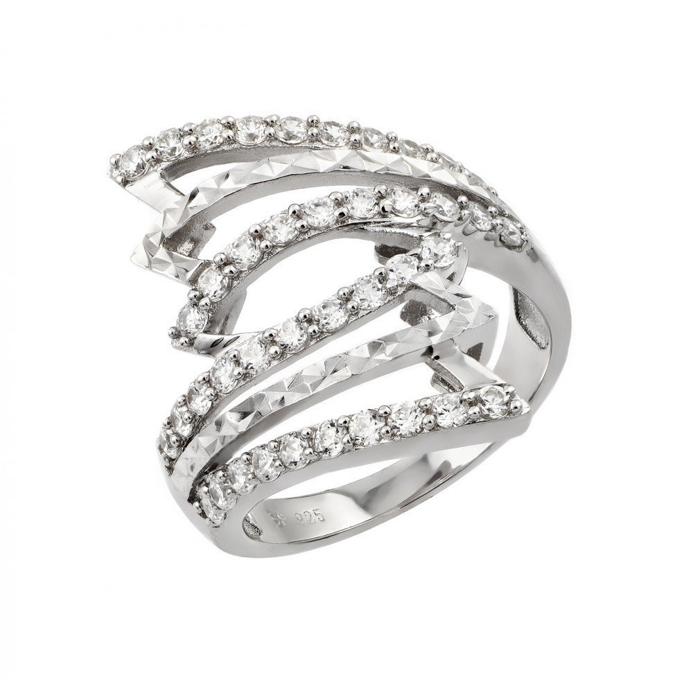 Silver Rings CZ .925 Ladies Sterling Jewelry str00940