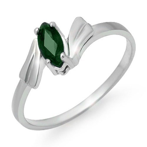 Genuine 0.20 ctw Emerald Ring 10K White Gold