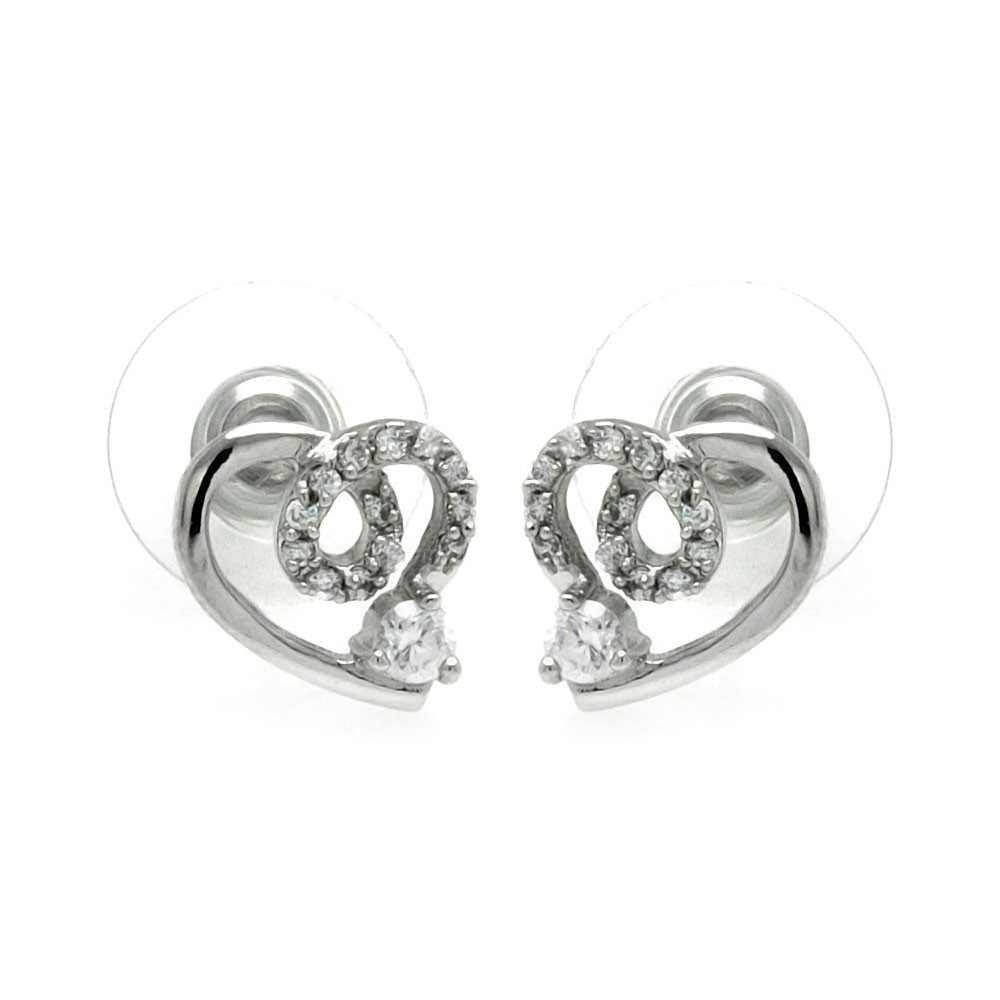 Silver CZ Stud Earrings .925 Sterling Jewelry bge00228