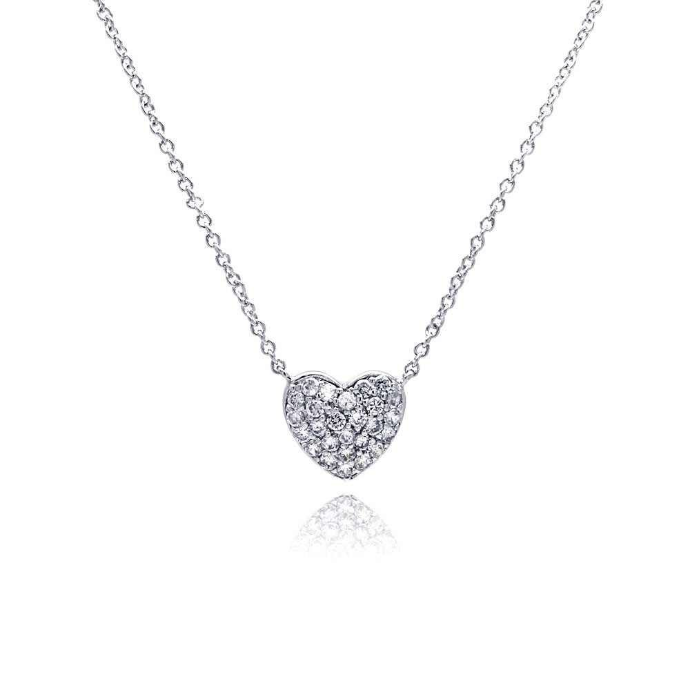 Silver CZ Necklace .925 Ladies Sterling Jewelry