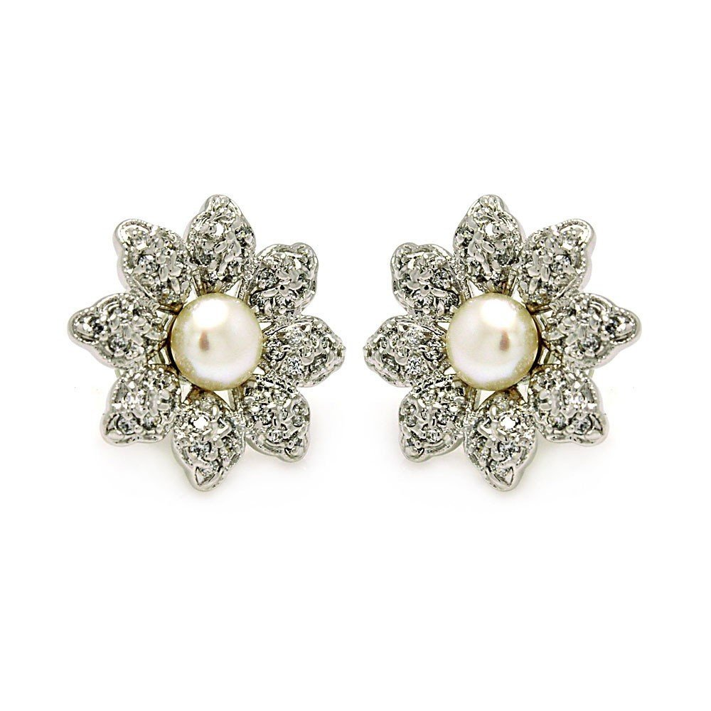 Silver CZ Stud Earrings .925 Sterling Jewelry bge00214