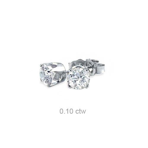 Natural 0.10 ctw Diamond Stud Earrings 14K White Gold