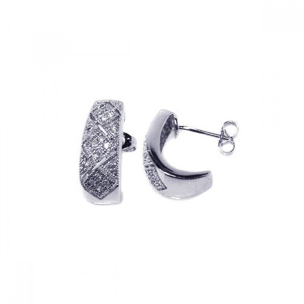Silver CZ Stud Earrings .925 Sterling Jewelry ace00007