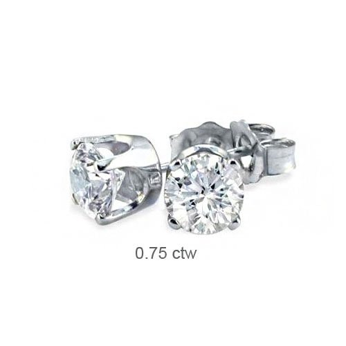 Natural 0.75 ctw Diamond Stud Earrings 14K White Gold