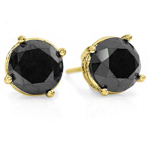 Natural 2.0 ctw Black Diamond Stud Earrings 14K Gold