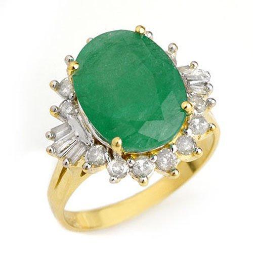Genuine 5.98 ctw Emerald & Diamond Ring 14K Yellow Gold