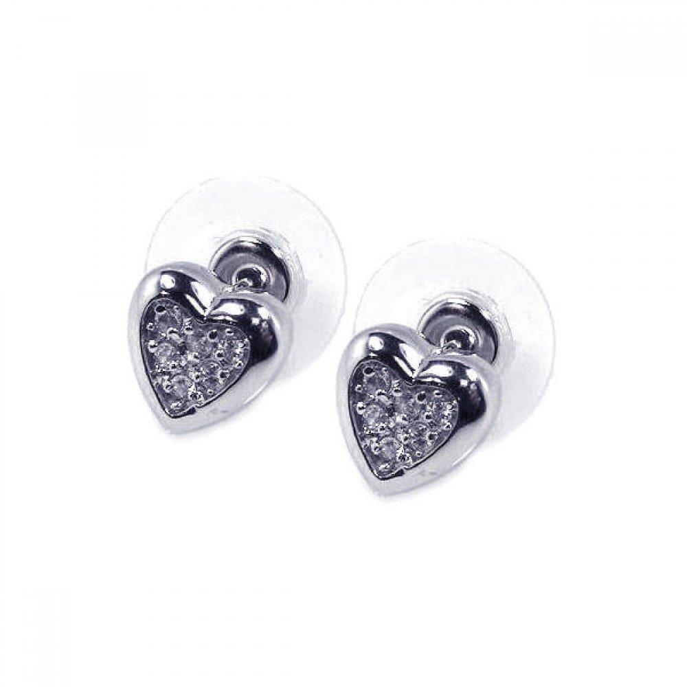 Silver CZ Stud Earrings .925 Sterling Jewelry bge00055