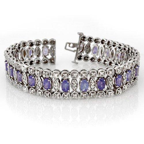 Genuine 17.50ctw Tanzanite & Diamond Bracelet 14K Gold