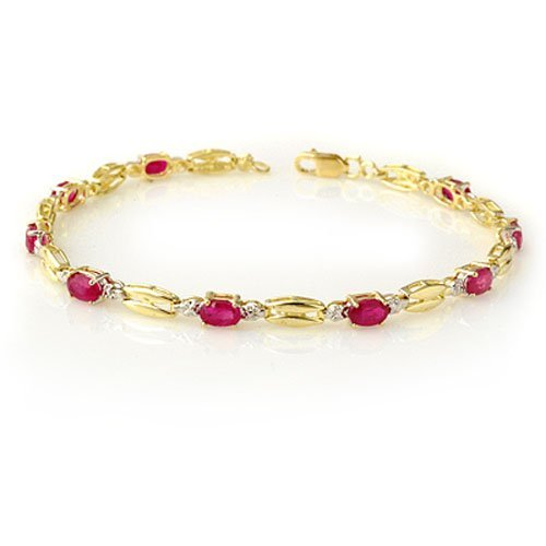 Genuine 3.25 ctw Ruby Bracelet 10K Yellow Gold