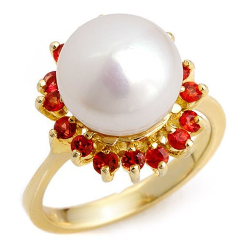 Genuine 0.75 ctw Red Sapphire & Pearl Ring Yellow Gold