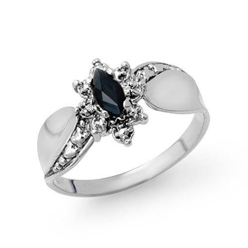 Genuine 0.27 ctw Sapphire & Diamond Ring 10K White Gold