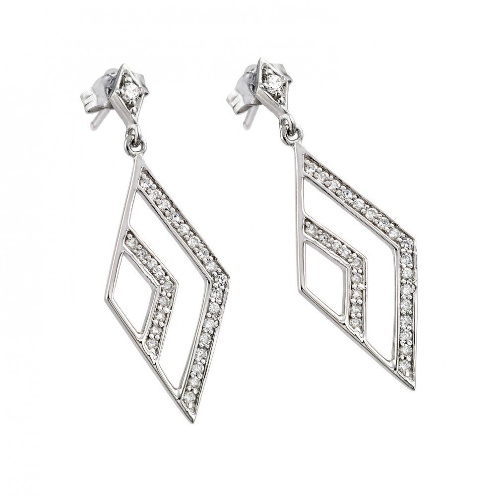 Silver CZ Micro Pave Earrings .925 Sterling Jewelry