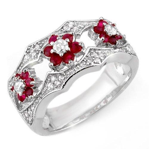 Genuine 0.85 ctw Ruby & Diamond Ring 14K White Gold