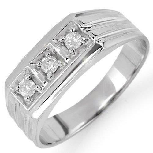 Natural 0.20 ctw Diamond Men's Ring 10K White Gold
