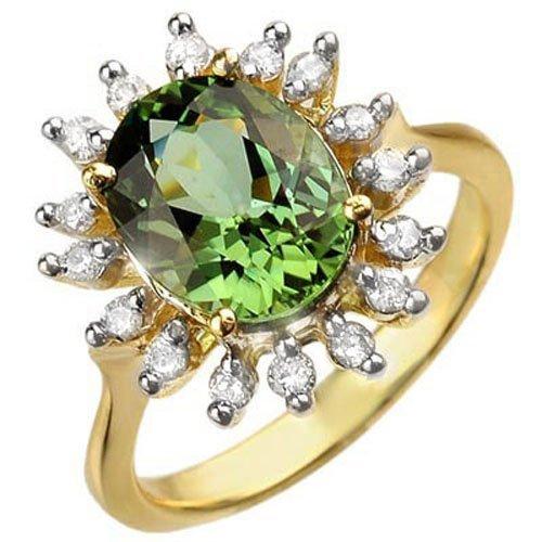 Genuine 3.4 ctw Green Tourmaline & Diamond Ring Gold