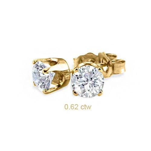 Natural 0.62 ctw Diamond Stud Earrings 14K Yellow Gold