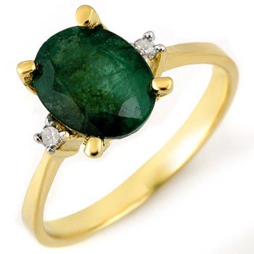 Genuine 1.54 ctw Emerald & Diamond Ring 14K Yellow Gold
