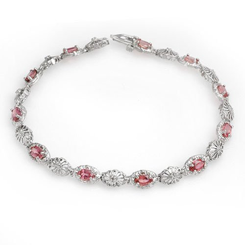 Genuine 3.83 ctw Red Sapphire & Diamond Bracelet Gold