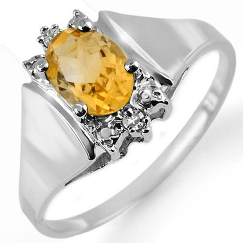 Genuine 1.23 ctw Citrine & Diamond Ring 10K White Gold