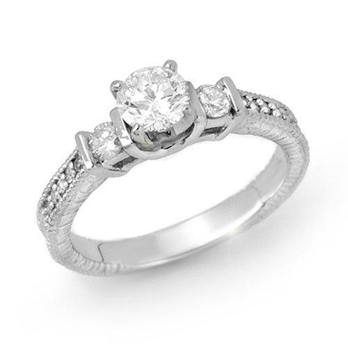 Natural 0.90 ctw Diamond Engagement Ring 14K White Gold