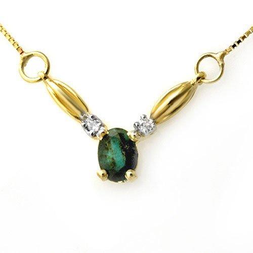 Genuine 1.30 ctw Emerald & Diamond Necklace Yellow Gold