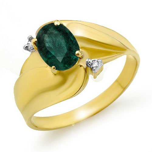 Genuine 0.85 ctw Emerald & Diamond Ring 10K Yellow Gold
