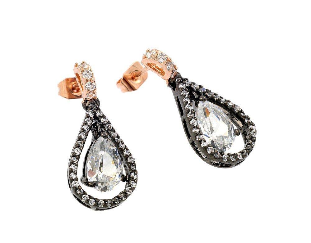 Silver CZ Earrings .925 Ladies Sterling Jewelry