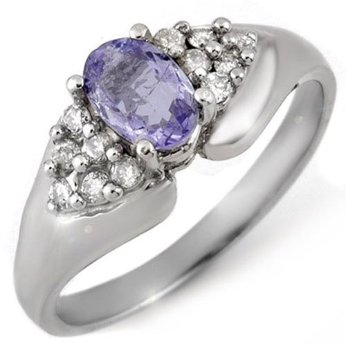Genuine 0.90ct Tanzanite & Diamond Ring 10K White Gold