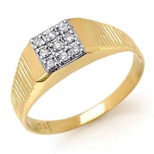 Natural 0.18 ctw Diamond Men's Ring 10K Yellow Gold