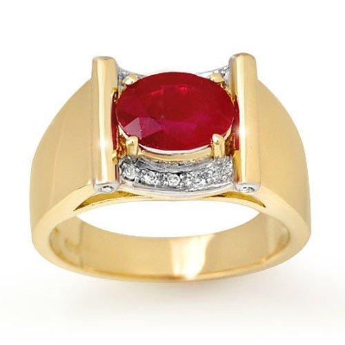 Genuine 2.33 ctw Ruby & Diamond Men's Ring Yellow Gold