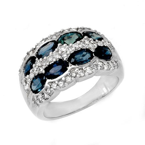 Genuine 3.25 ctw Sapphire & Diamond Ring 14K White Gold