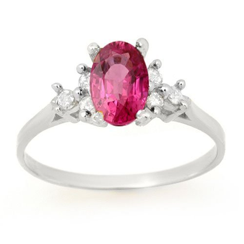 Genuine 0.8 ctw Pink Sapphire & Diamond Ring 14k Gold