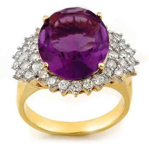 Genuine 8.18ctw Amethyst & Diamond Ring 14K Yellow Gold