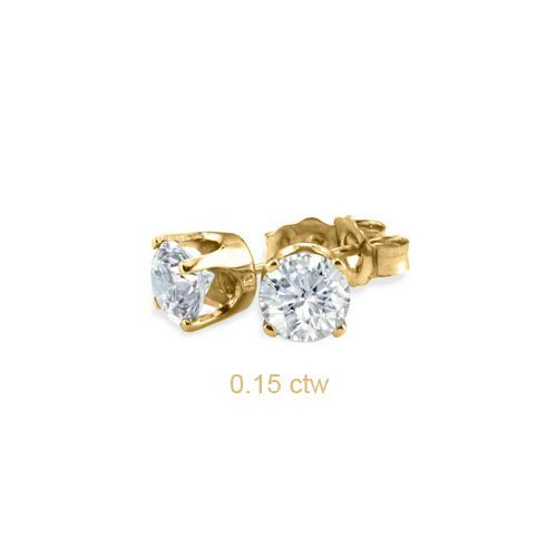 Natural 0.15 ctw Diamond Stud Earrings 14K Yellow Gold