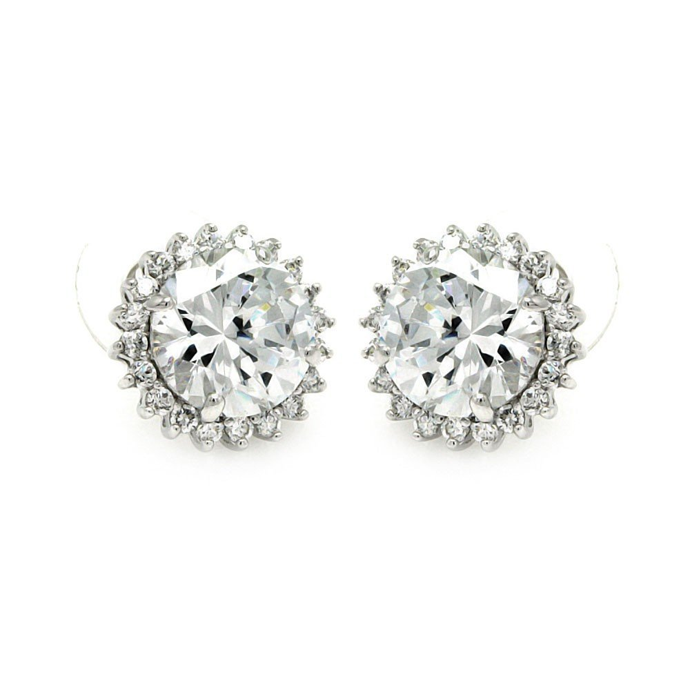 Silver CZ Stud Earrings .925 Sterling Jewelry bge00212