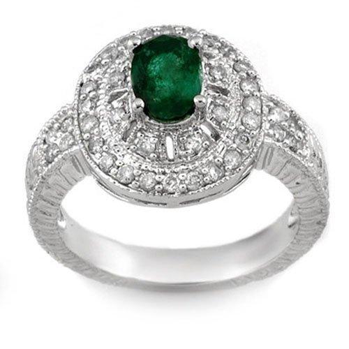 Genuine 1.58 ctw Emerald & Diamond Ring 14K White Gold