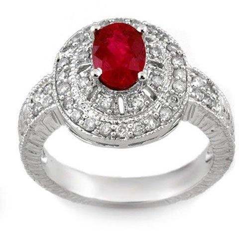 Genuine 1.93 ctw Ruby & Diamond Ring 14K White Gold