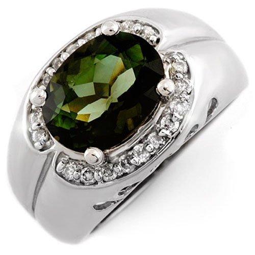 Genuine 3.58ct Green Tourmaline & Diamond Ring 10K Gold